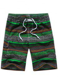 Striped Polka Dot Panel Print Board Shorts - GREEN