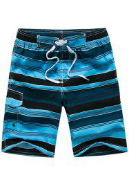 Color Block Striped Panel Print Board Shorts - BLUE
