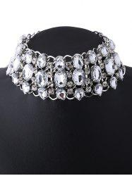 Rhinestoned Hollow Out Wide Choker