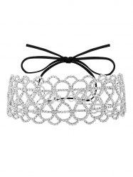 Hollowed Infinite Bowknot Rhinestoned Necklace