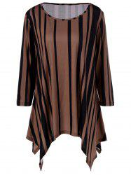 Plus Size Vertical Striped Asymmetrical T-Shirt