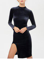 Stand Neck Long Sleeve Side Slit Velvet Dress