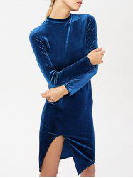 Stand Neck Long Sleeve Side Slit Velvet Dress -