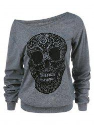 Skull Print Skew Collar Plus Size Sweatshirt - GRAY