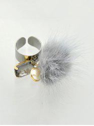 Rhinestone Fuzzy Ball Cuff Ring