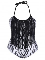 Fringe Argyle Plus Size Swimwear One Piece