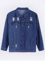 Ripped Casual Denim Shirt Jacket
