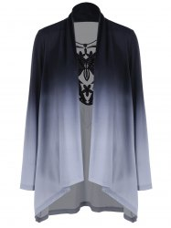 Ombre Draped Lace Panel Cardigan -