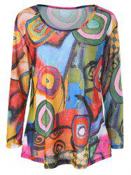 Color Block Print Long Sleeve Tee - COLORMIX L