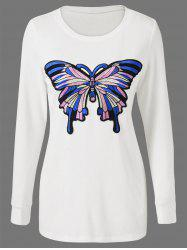 Butterfly Embroidered Fitted Long Sleeve Top - WHITE L
