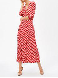 V Neck Front Slit Retro Print Maxi Dress
