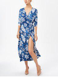 Side Slit Printed Surplice Maxi Dress