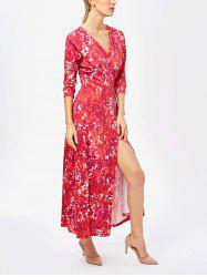 High Slit Printed Kimono Wrap Maxi Dress