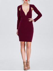Low Cut Open Back Long Sleeve Club Dress