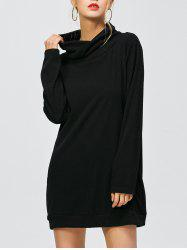 Loose Cowl Neck Sweatshirt Dress With Sleeves