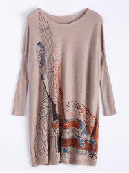 Building Print Oversized Mini Knitted Jumper Dress
