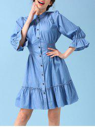 Button Up Flounce Skater Skirt Dress