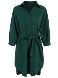 Belted Work Casual Shirt Dress with Sleeves -