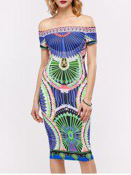 Off The Shoulder Printed Midi Bodycon Dress - COLORMIX