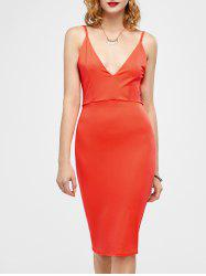 Open Back Ruched Slip Bodycon Club Dress - JACINTH