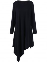 Asymmetrical Long Sleeve Jewel Neck Dress