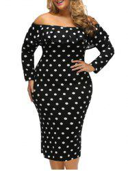 Plus Size Polka Dot Off The Shoulder Long Sleeve Bodycon Dress - BLACK 3XL