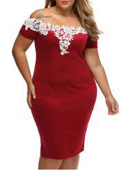 Plus Size Lace Panel Bandage Sheath Party Dress