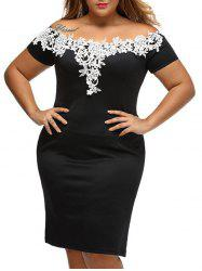 Plus Size Lace Panel Bandage Club Dress