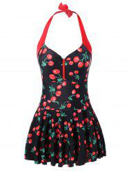 Cherry Print Plus Size Halter Neck Swimwear - BLACK AND RED