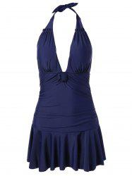 Plus Size Ruched Cut Out Halter Swimwear