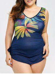 Plus Size Floral Print Backless One Piece Swimwear