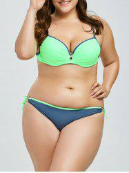 Plus Size Low Cut Lace Up Bikini Set