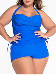 Plus Size Halter Ruched Tankini Set