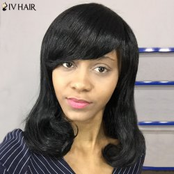 Siv Hair Medium Inclined Bang Shaggy Wavy Bob Human Hair Wig