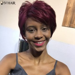 Siv Hair Short Layered Straight Pixie Side Bang Human Hair Wig
