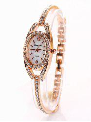 Alloy Bracelet Oval Watch with Rhinestones -