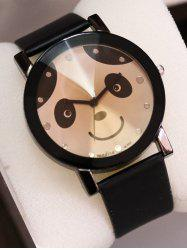 PU Leather Band Panda Quartz Watch