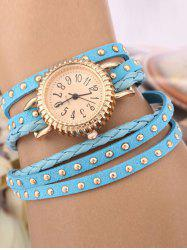 Rivet Studded Layered Bracelet Watch