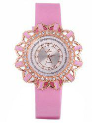 Faux Leather Flower Quartz Watch