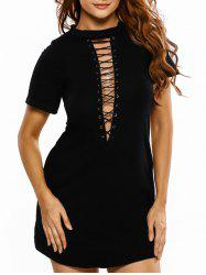 Mock Neck Lace-Up Mini T-Shirt Dress