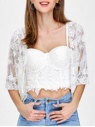 See-Through Lace Cropped Short Kimono Cover Up