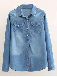 Plus Size Single Breasted Denim Long Sleeve Chambray Shirt