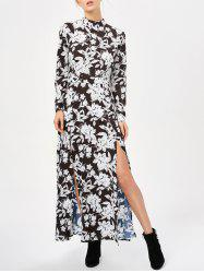 Long Sleeve High Split Floral Maxi Flowy Dress
