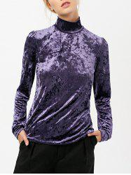 Long Sleeve High Collar Velvet Top