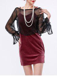 Fitted Velvet Slip Dress and Sheer Top