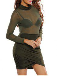 Mock Neck Sheer Ruched Bodycon Bandage Dress