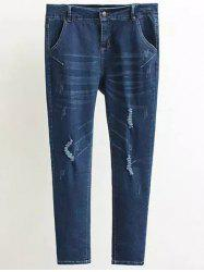 Plus Size Frayed Pencil Jeans