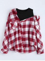 Plus Size Plaid Asymmetrical Insert Blouse