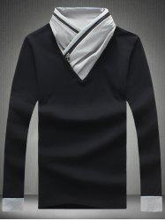 Shawl Collar Zipper Design Color Block T-Shirt