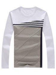 Crew Neck Color Block Stripe Panel T-Shirt - WHITE